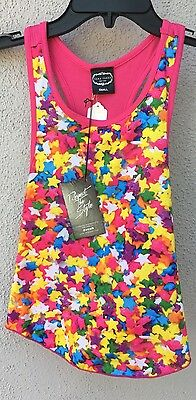 $52 NWT Zara Terez Multi Color Star Pink Back Racer Tank Top Girls