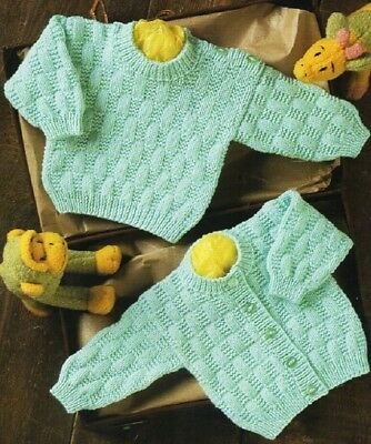 Baby knitting pattern CARDIGAN & Sweater Copy  8 Ply Includes PREMMIE size