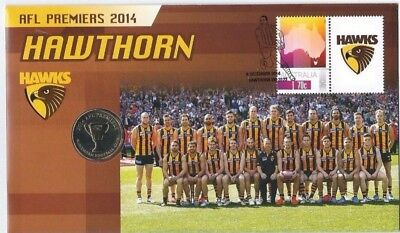 Australia  2014  AFL  HAWTHORN   $1 COIN   PNC / FDC  Issue 15. #0568 / 5000