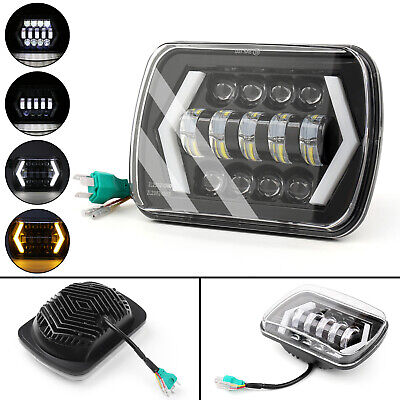 "55W 7x6"" 5X7"" LED Projector Headlight Hi-Lo Beam Halo DRL For Jeep Cherokee XJ M"