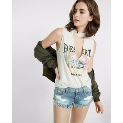 95cf422a5c NWOT EXPRESS ONE Eleven Desert Dreaming Graphic Tank Top Choker Neck ...