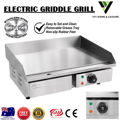 Electric Griddle Grill Stainless Steel Non-Slip Pan Flat Cook Top Indoor Outdoor
