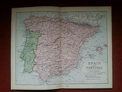 1878 Map of Spain and Portugal by Ravenstein Madrid Lisbon Iberia Virtue Antique