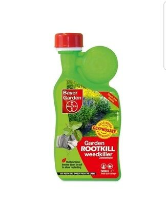 2 x Bayer Garden Rootkill Weedkiller Concentrate 500ml treats 533sqm