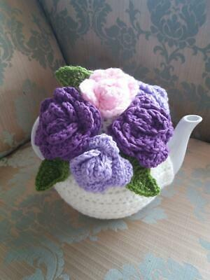 Vintage Tea Room look crochet ivory with purple, lilac and pink roses tea cosy