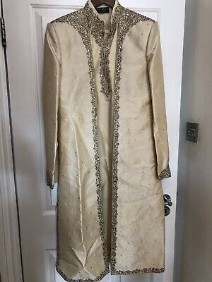 Asian Wedding Mens Groom 3-piece Gold Sherwani