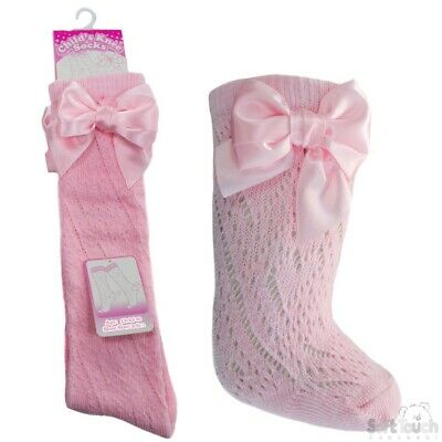Baby Girls Pelerine Spanish Style Knee High Socks With Ribbons - 0-24 Months