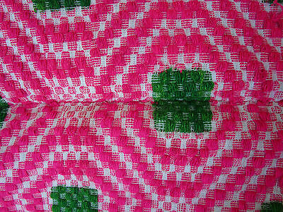 1930's Antique Vtg. PINK Hand Woven Sheep Wool Romanian KILIM Blanket 56x78""
