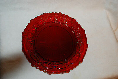 "Avon 1876 Cape Cod Ruby Red Salad Plate 7 1/2"" Cranberry Glass"