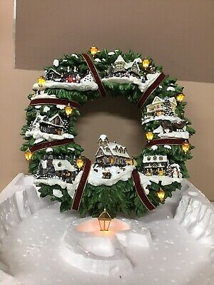 Thomas Kinkade Christmas Village Wreath 2005 The Hamilton Collection