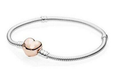 Snake Chain Bracelet Charms Silver With Rose Gold Love Heart Clasp Snake Chain