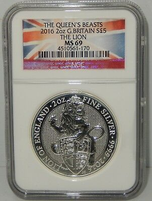 Britain, 2016 2 oz Silver 5 Pound Queen's Beast - The Lion - NGC Graded MS69 !!