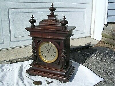 Lenzkirch Antique Mantle Bracket Clock. Large + Lovely, Ex. condition.