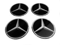 MERCEDES Black Wheel Center Hub Caps Silicone Badge Emblem Stickers 4x55mm