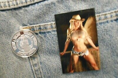 1 troy oz .999 fine silver round hot sexy cowgirl & new slinky hot pinup magnet