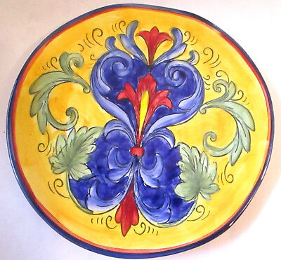"""Yellow Tuscany Cobalt Blue and Yellow Handpainted 8"""" Plate - BOLD ITALIAN COLORS"""