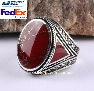 Turkish Jewelry 925 Sterling Silver Red Agate Aqeeq Mens Mans Ring ALL SİZE US 2