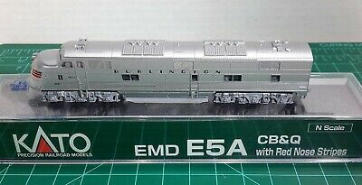N Scale KATO E5A 'CB&Q w/Red Nose Stripes' With Factory DCC Item #176-5404-DCC