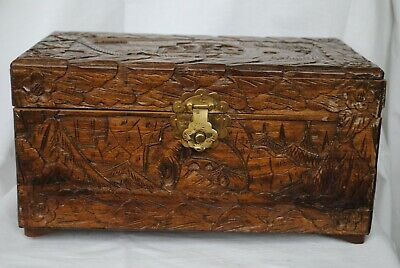 Antique Wooden Hand Carved Box Made From Oak