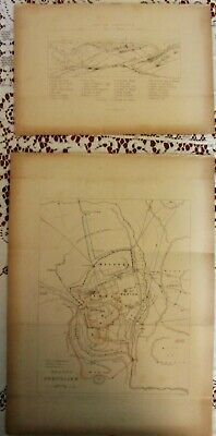 Lot of 2 Antique Map Prints*Modern Jerusalem