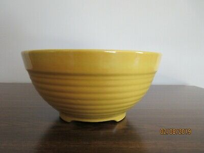 """Vintage Bauer Pottery Ringware Yellow Red 11 1/2"""" Footed Punch Bowl, Chip"""