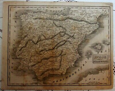 Antique Map Print*Spain and Portugal