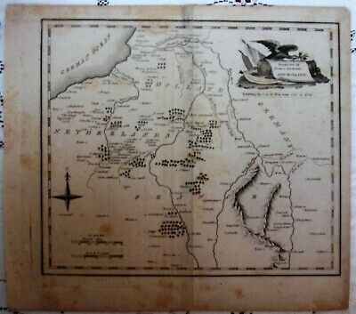 Antique Map Print*Frontiers of France, Germany and Holland