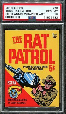 2018 Topps 80th Anniversary Wrapper Art #78 ~ 1966 Rat Patrol SP /201 ~ PSA 10