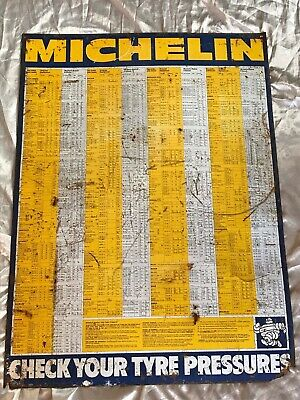 Original Vintage Michelin Enamel Sign Classic Car Garage Tyre Pressure Chart
