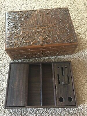 Antique Oriental Carved Jewellery Sewing Wooden Box