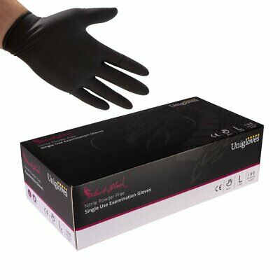 Black Nitrile Disposable Gloves Powder Free Tattoo Tattooist Valeting Mechanic