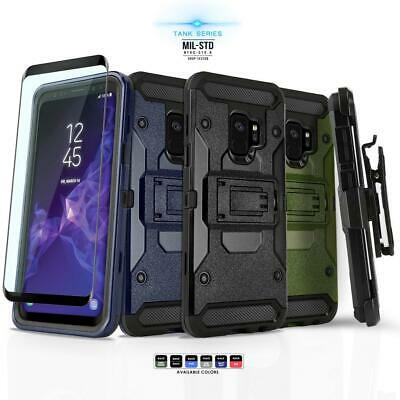 for SAMSUNG GALAXY S9, [Tank Series] Phone Case Cover & Holster +Tempered Glass