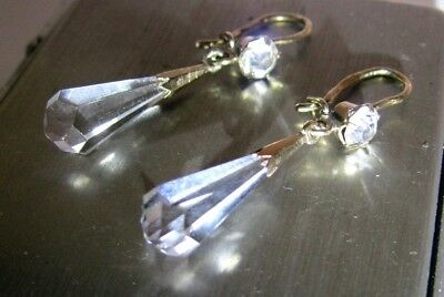 Sparkly ROCK CRYSTAL Super Shining Earrings Silver 875 USSR Antique