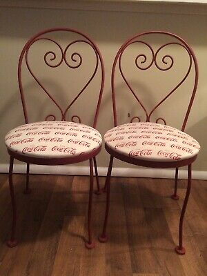 Vintage Coca Cola Chairs Wrought Iron Authentic Collectible Set