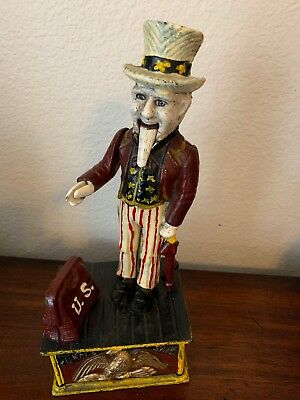Vintage Uncle Sam Cast Iron Mechanical Bank. Moving Beard And Operational.