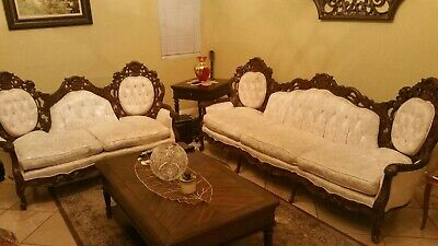 ANTIQUE SOLID HARDWOOD Hand Carved Italian Sofa Set Sofa ...