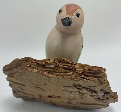 Small Folk Primitive Bird Carved Painted Antique Art Wood Sculpture Maryland