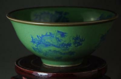 China Collection Green Glaze Porcelain Hand Painted Dragon Bowl/xuande Mark B01