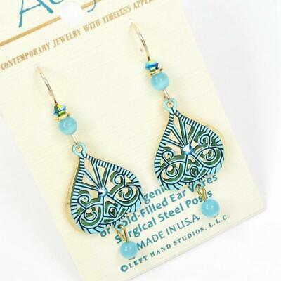 Adajio Earrings Blue Cutout Design over Shiny Gold Plated Teardrop with Bead