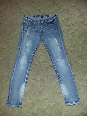 a0ef8820c0f Vanilla Star Juniors Skinny Destroyed Jeans Blue Denim Sz 11 Stone Wash GUC