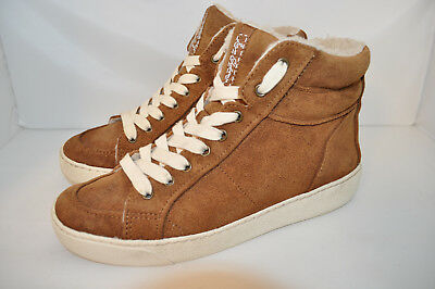 e321562b623c03 Sam Edelman Britt Shearling High Top brown Suede Sneakers Booties Women 7.5  M