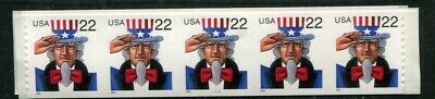 US Coil Strip #3263 22c Uncle Sam Plate # Strip of 5, 111,  c326301