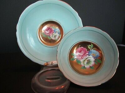 Wide Paragon England Aqua Floral Gold Hand Painted Tea Cup & Saucer Duo