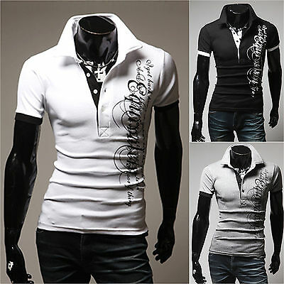 Mens Summer Letter Print Polo Shirts Slim Fit T-shirt Short Sleeve Casual Tees