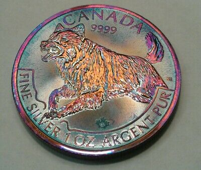 2018 Canadian Wolf Predator Series 1 oz silver coin with beautiful toning,TONED