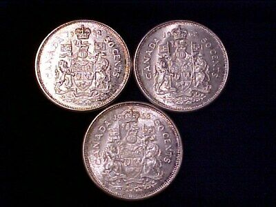 Canada 50 Cents Silver 1962 Bu  Lot Of (3) Three Coins Nice