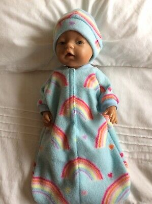"Doll clothes - Sleeping Bag & Hat To Fit 17"" Baby Born Doll - Blue Rainbows~ Blu"