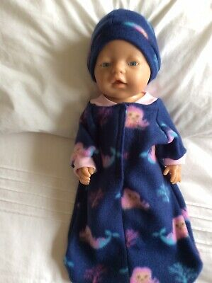 "Doll clothes - Sleeping Bag & Hat To Fit 17"" Baby Born Doll - Blue / Mermaids"