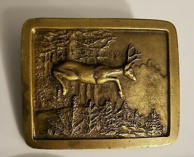 Oa17102 Vintage 1977 **Deer Running Through Forest** Indiana Metal Craft Buckle