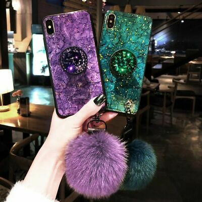 iPhone Cases 7 6 8 Plus X Xs Max Xr Luxury Gold Foil Marble Cover Glitters Plush